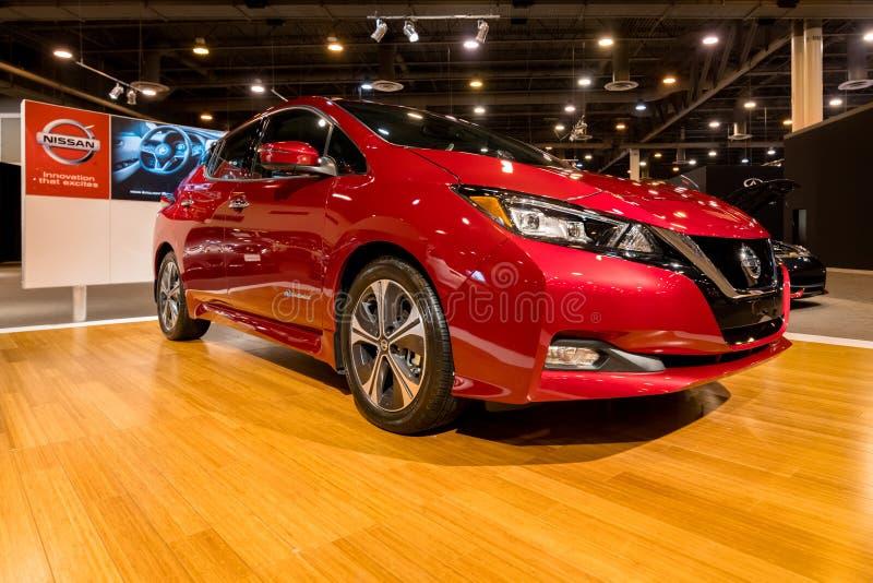 Voiture 2018 électrique de nouvelle FEUILLE de Nissan image libre de droits