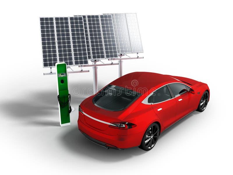 Voiture électrique de ravitaillement moderne avec la perspective rouge de panneaux solaires sur le fond blanc avec l'ombre photos libres de droits