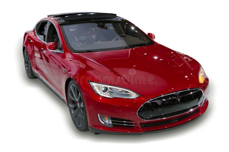 Voiture électrique rouge de Tesla photo libre de droits