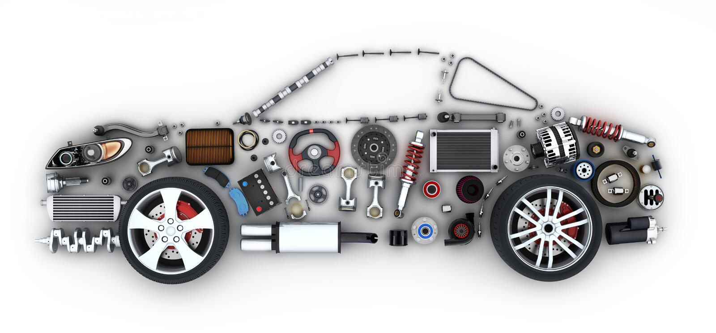 Voiture abstraite et beaucoup de pièces de véhicules illustration stock
