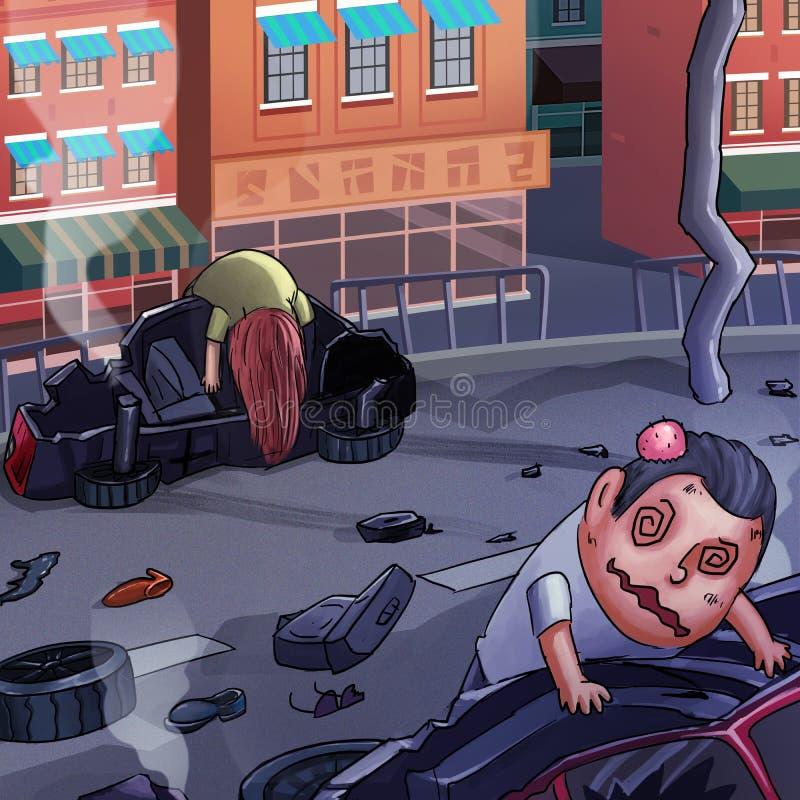 Voiture Accidient Style réaliste de bande dessinée de caricature illustration stock