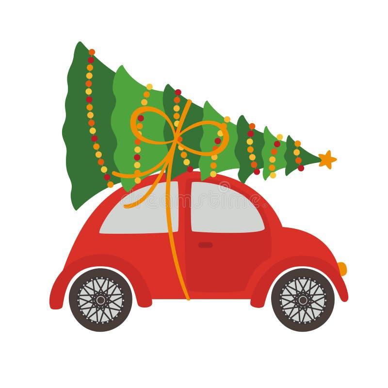 Voiture avec l'arbre de Noël illustration de vecteur