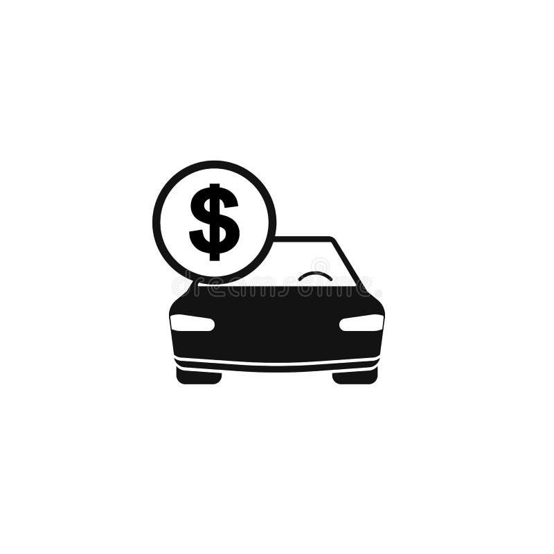 Voiture avec le vecteur d'icône de pièce de monnaie Icône de achat de voiture dans le style plat Épargnez l'argent pour la voitur illustration libre de droits