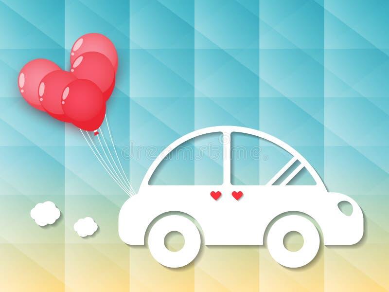 Voiture avec les ballons rouges de coeur illustration stock