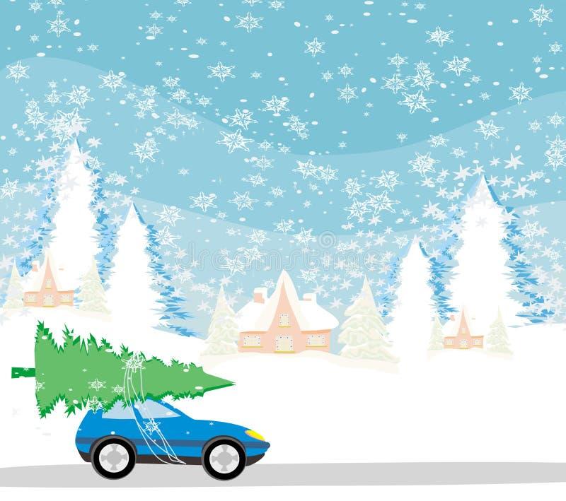 Voiture avec un arbre de Noël sur le toit illustration stock