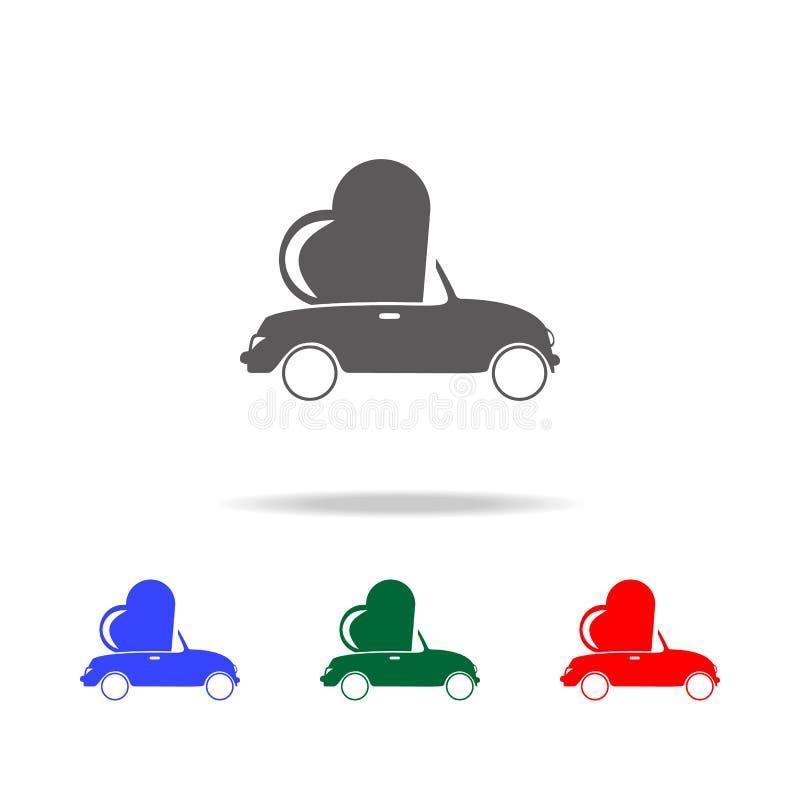 voiture avec un coeur à l'intérieur des icônes Éléments du mariage dans les icônes colorées multi Icône de la meilleure qualité d illustration stock