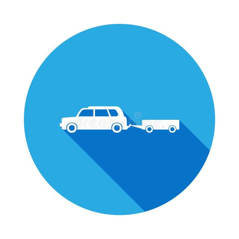 voiture avec une icône de remorque avec la longue ombre Icône de la meilleure qualité de conception graphique de qualité avec la  illustration de vecteur