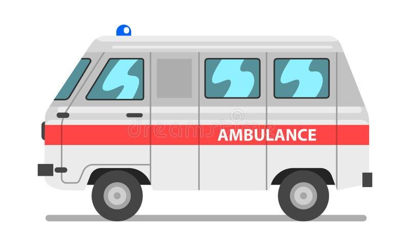 Voiture blanche et rouge d'ambulance, urgence van vector Illustration médical sur un fond blanc illustration de vecteur