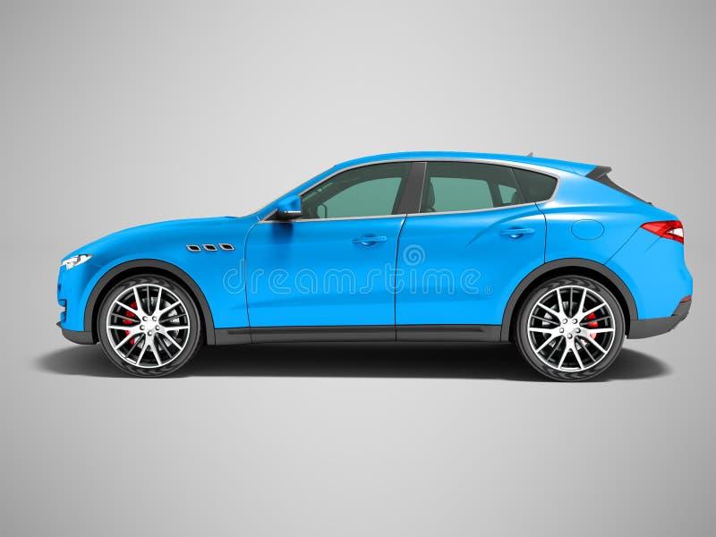 Voiture bleu-foncé moderne de croisement pour la vue de côté 3D r de voyages d'affaires illustration stock