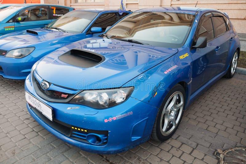 Voiture bleue de STI de Subaru Impreza WRX de Pré-remontée du visage photo stock
