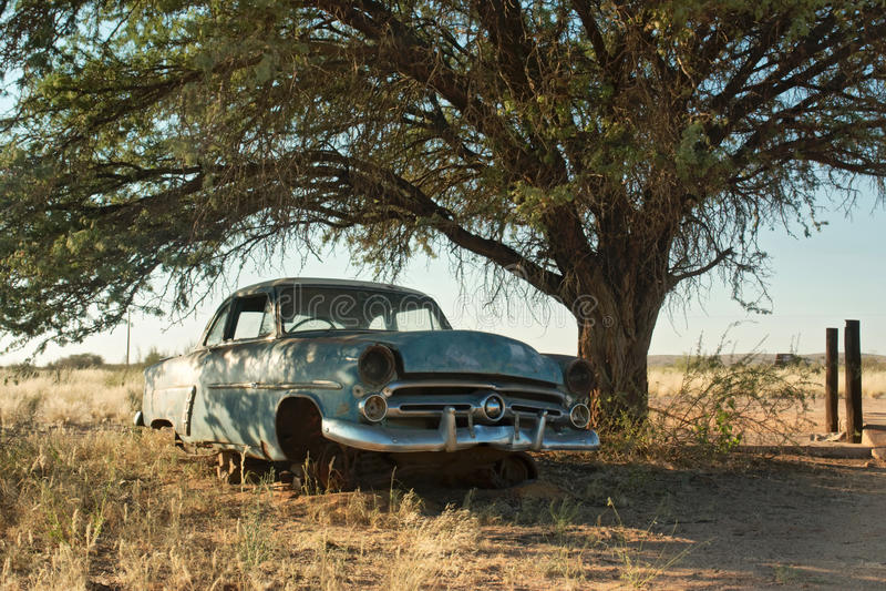Voiture bleue de vintage sous l'arbre images stock