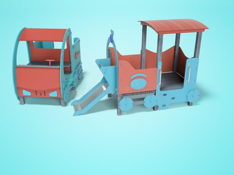 Voiture bleue rouge et aire de jeux pour les enfants avec vue sur diapositive 3d rendu sur fond bleu avec ombre illustration stock