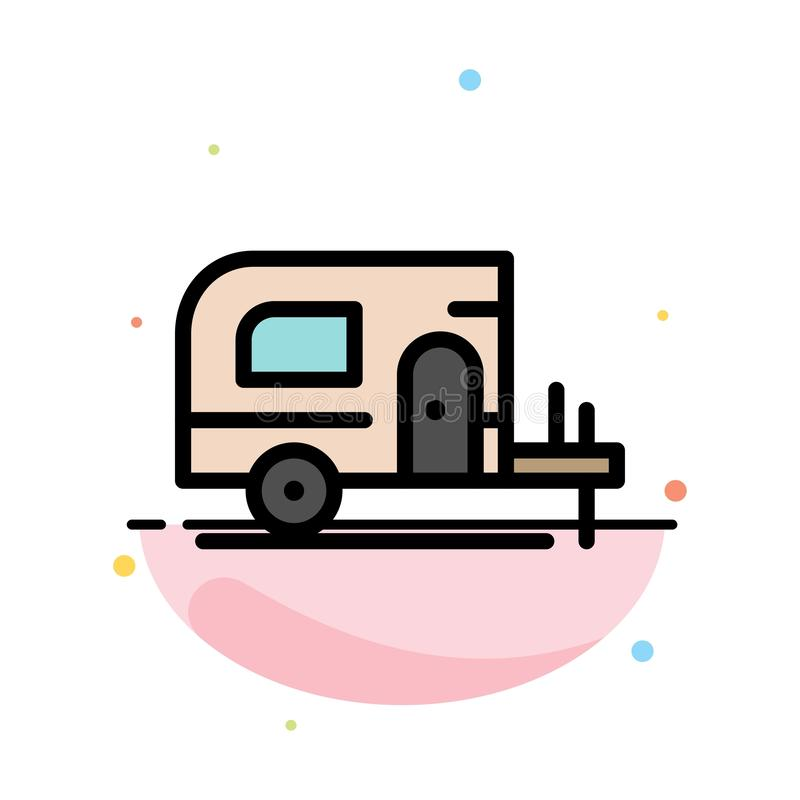 Voiture, camp, calibre plat d'icône de couleur d'abrégé sur ressort illustration libre de droits