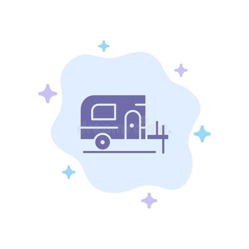 Voiture, camp, icône bleue de ressort sur le fond abstrait de nuage illustration de vecteur