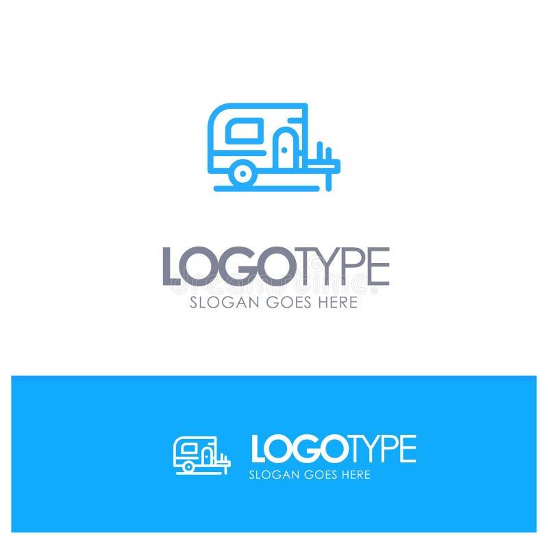Voiture, camp, logo bleu d'ensemble de ressort avec l'endroit pour le tagline illustration stock