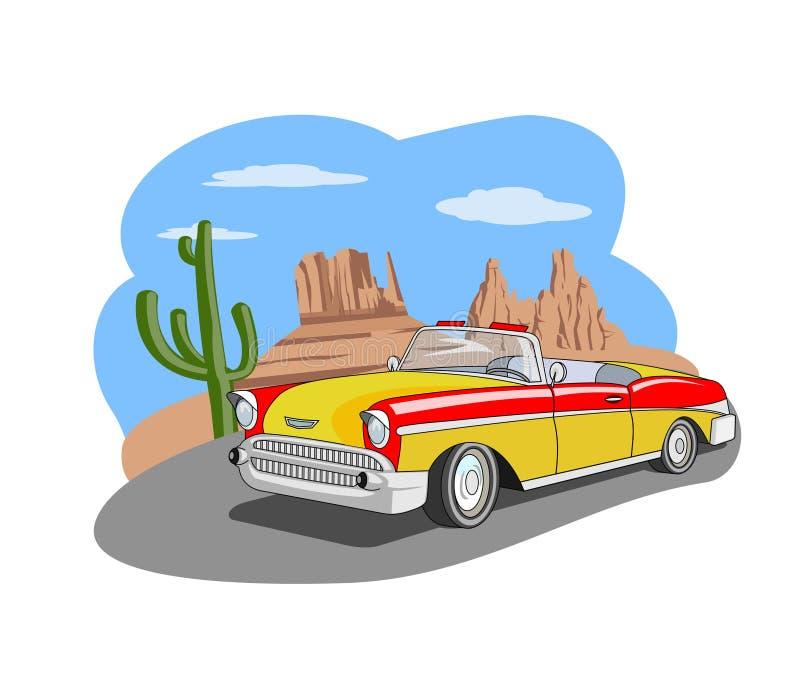 Voiture classique dans le désert illustration stock