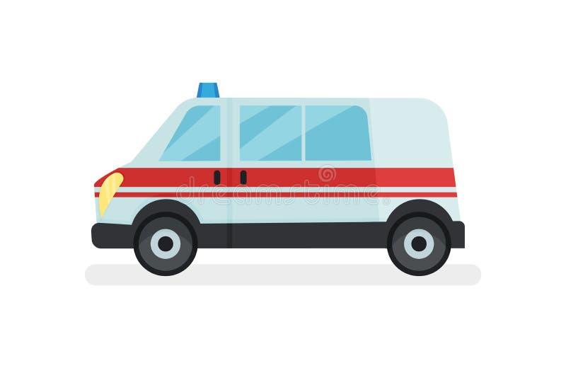 Voiture d'ambulance avec le clignoteur sur le toit Automobile de service hospitalier Transport urbain Icône plate de vecteur illustration de vecteur