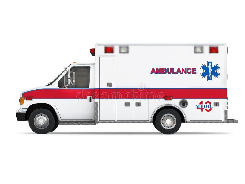 Voiture d'ambulance d'isolement sur le fond blanc. Vue de côté illustration libre de droits