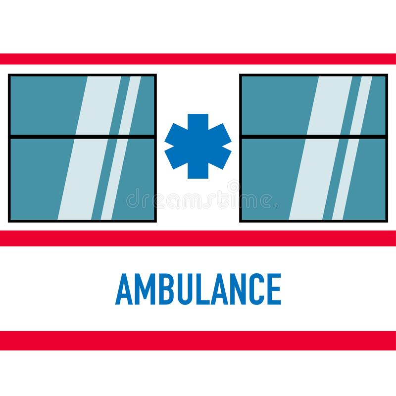 Voiture d'ambulance en rouge blanc de conception plate illustration libre de droits