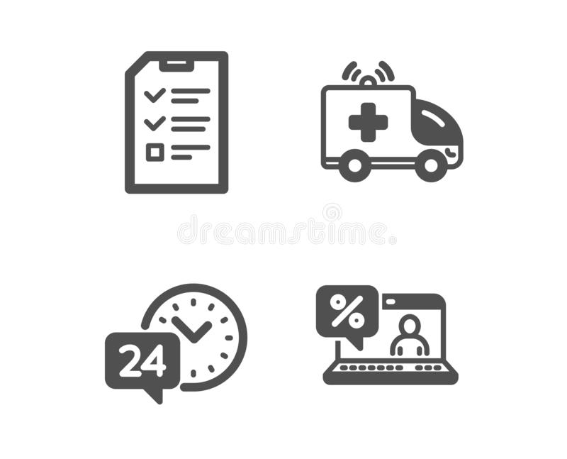 Voiture d'ambulance, entrevue et ic?nes du service 24h Signe en ligne de pr?t Vecteur illustration de vecteur