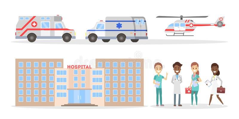 Voiture d'ambulance, hôpital et ensemble de personnel médical illustration libre de droits