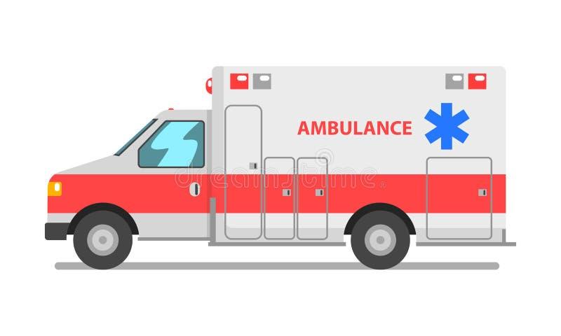 Voiture d'ambulance, illustration de vecteur de véhicule de service médical de secours sur un fond blanc illustration libre de droits
