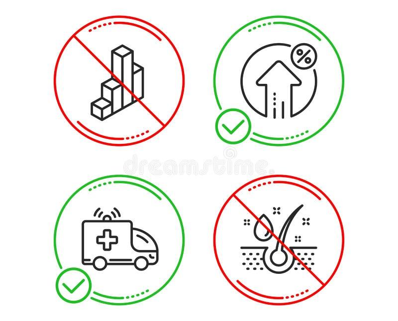 Voiture d'ambulance, pour cent de pr?t et ensemble d'ic?nes du diagramme 3d Signe d'huile de s?rum Vecteur illustration de vecteur