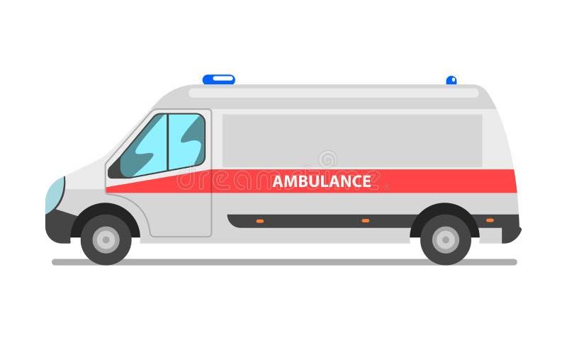 Voiture d'ambulance, urgence van vector Illustration médical sur un fond blanc illustration stock