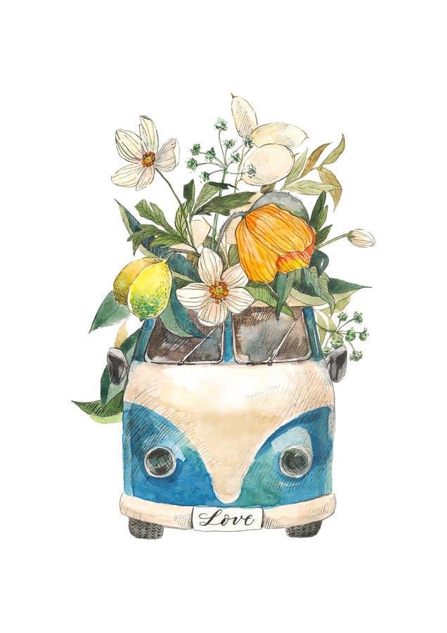 Voiture d'aquarelle avec la fleur tirée par la main d'isolement sur le fond blanc pour l'invitation, carte postale, bannière, mod illustration libre de droits