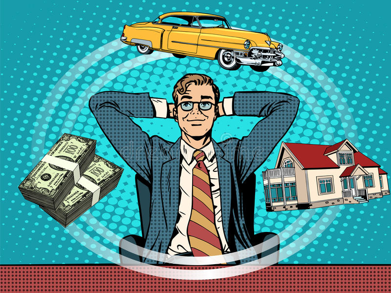 Voiture d'argent de maison rêveuse d'homme illustration stock