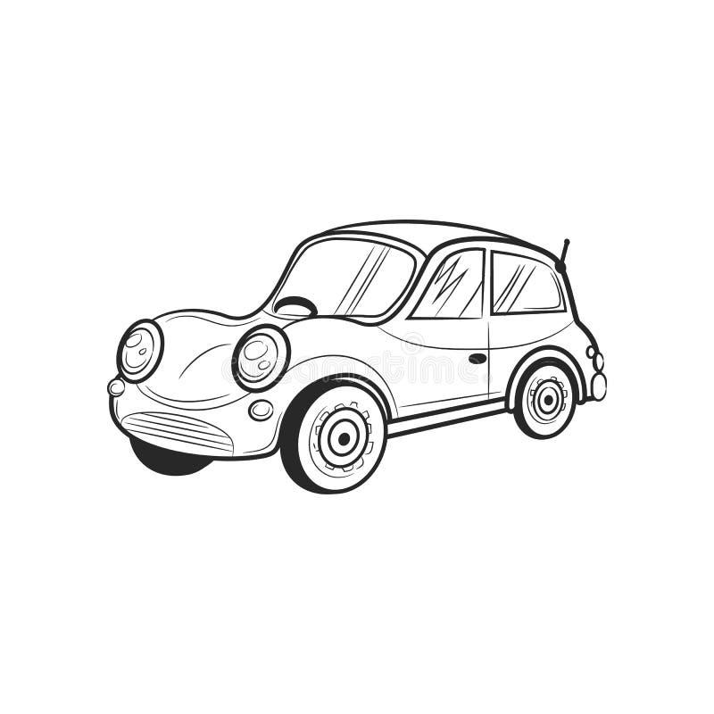 Voiture d'icône de voyage de transport de croquis d'aspiration de main illustration libre de droits