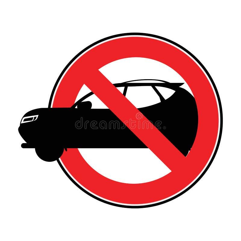Voiture d'interdiction Jour sans voiture Signe mena?ant Silhouette graphisme croquis Symbole Illustration courante de vecteur tra illustration stock