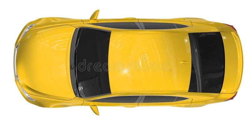 Voiture d'isolement sur le blanc - peinture jaune, verre teinté - vue supérieure illustration libre de droits