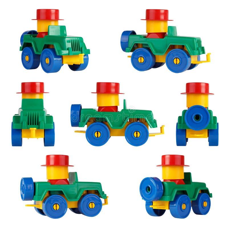 Voiture d'isolement SUV de jouet d'enfants Différents angles photographie stock libre de droits