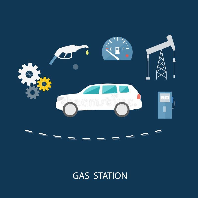 Voiture dans la station service Pompe de distributeur d'essence de carburant illustration libre de droits