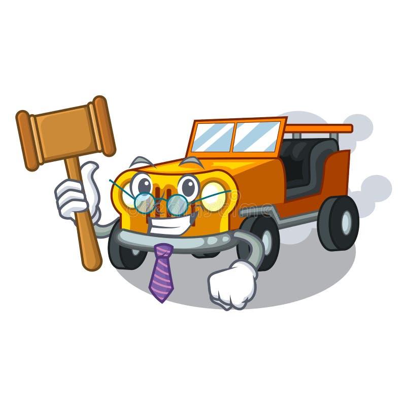 Voiture de bande dessinée de jeep de juge dans la clémence avant illustration de vecteur