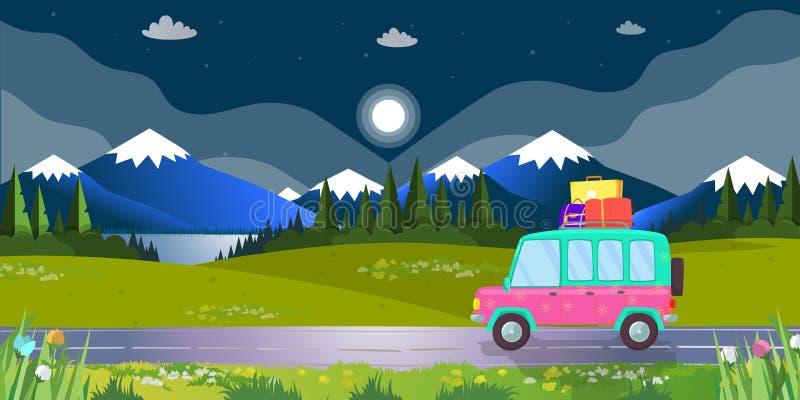Voiture de berline avec hayon arrière avec le bagage conduisant par la route de chemise de nuit illustration stock