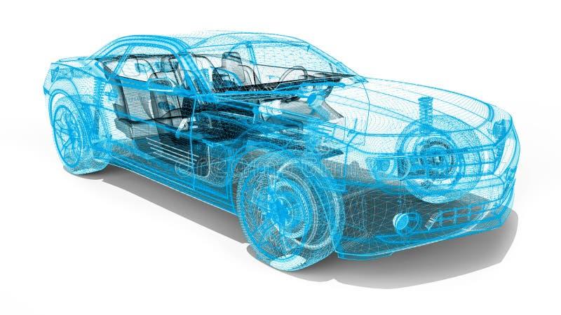 Voiture de cadre de fil illustration de vecteur