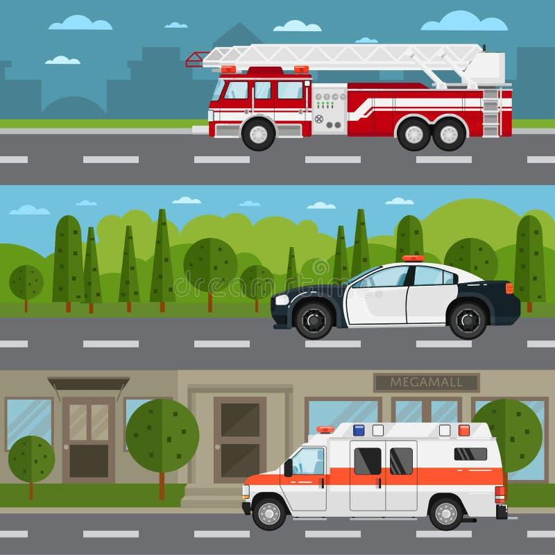 Voiture de camion de pompiers, de police et d'ambulance sur la route illustration de vecteur