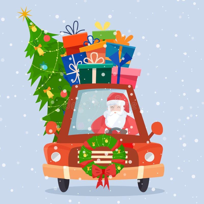 Voiture de Chrismas avec les cadeaux, l'arbre et les décorations illustration stock
