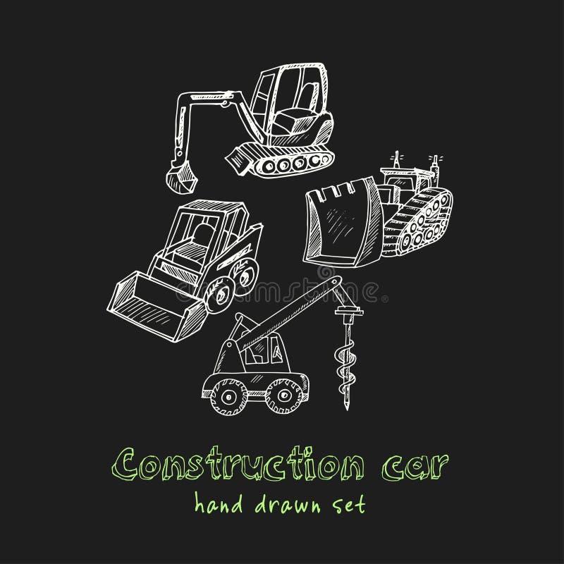 Voiture de construction Ensemble tiré par la main de griffonnage croquis Illustration de vecteur pour le produit de conception et illustration stock