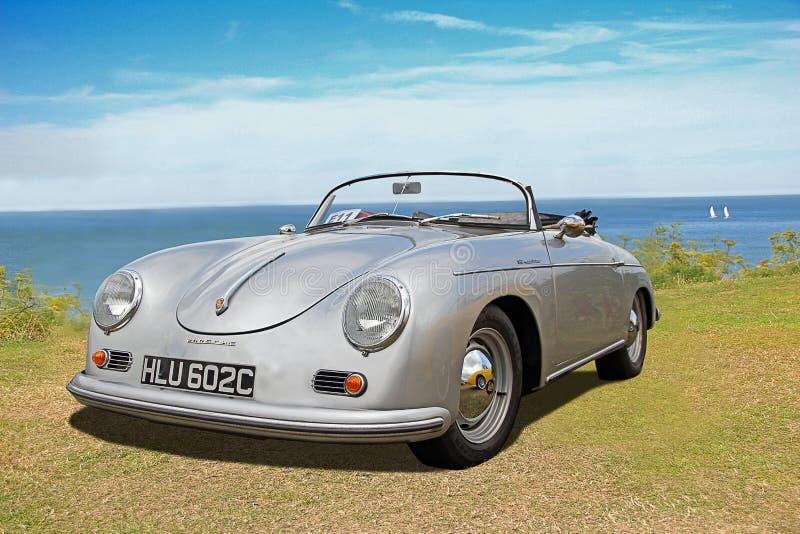 Voiture de convertible de fou du volant de Porsche de vintage photographie stock