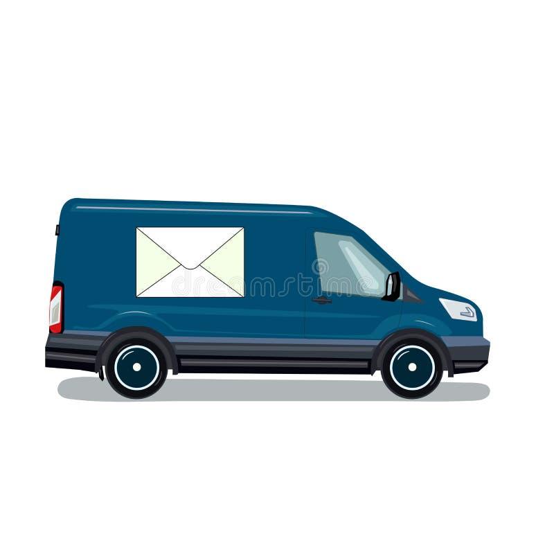 Voiture de courrier Illustration de vecteur dans le style plat Fourgon de courrier images stock