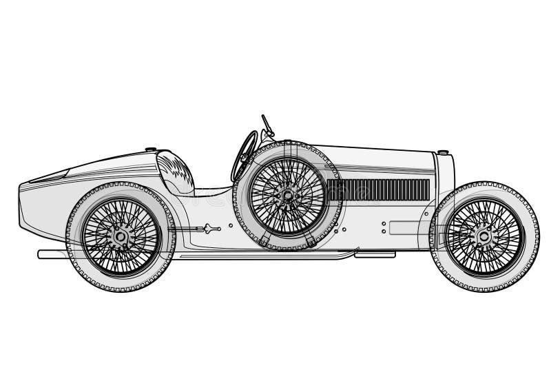 Voiture de course antique Bugatti dans des courbes de niveau selon le programme illustration de vecteur