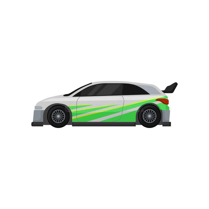 Voiture de course avec les fenêtres teintées, le spoiler et les autocollants verts Thème d'Autosport Vecteur plat pour l'affiche  illustration stock