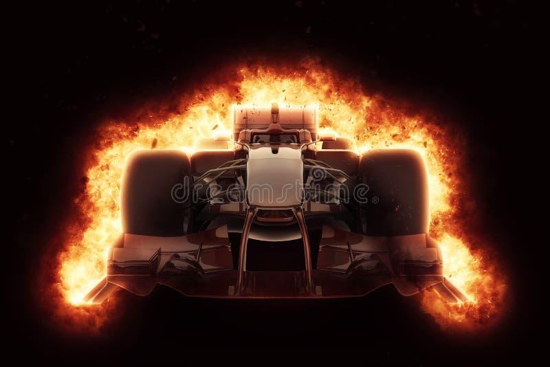 voiture de course 3D avec l'effet ardent d'explosion illustration stock