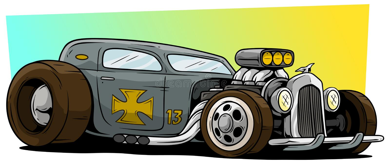 Voiture de course grise de hot rod de rétro vintage de bande dessinée illustration stock