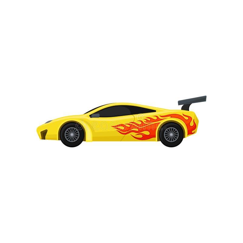 Voiture de course jaune lumineuse avec le spoiler, fenêtres teintées Automobile rapide de sports avec la langue de la flamme Vect illustration stock
