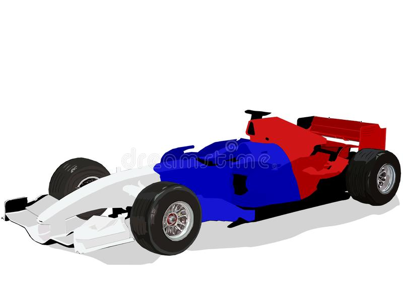 Voiture de course de la formule 1, image d'isolement de vecteur illustration stock