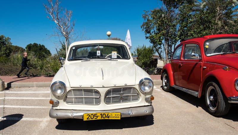 Voiture de cru de Volvo présentée sur le salon automobile d'oldtimer, Israël image libre de droits